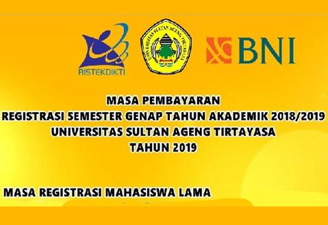 Masa Pembayaran Registrasi Semester Genap 2018/2019