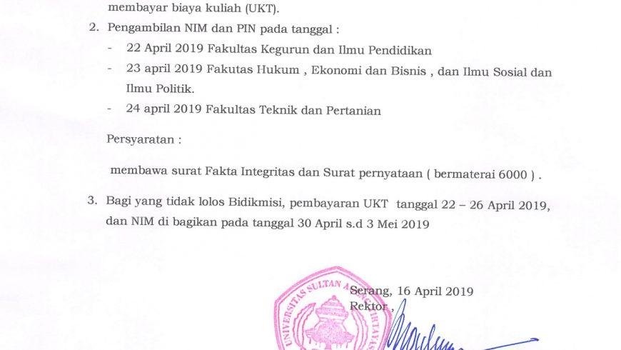 PENGUMUMAN LOLOS BIDIKMISI SNMPTN 2019 UNTIRTA