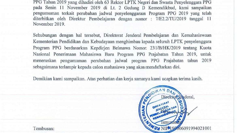 (Bahasa) PERUBAHAN JADWAL PPG PRAJABATAN 2019
