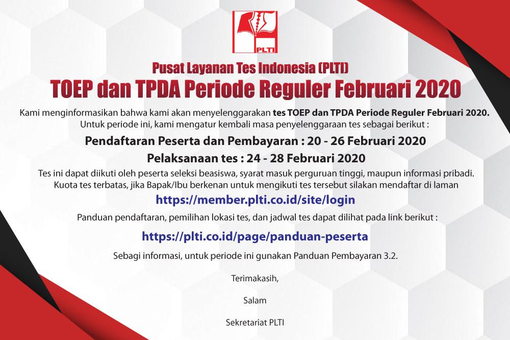 Tes TOEP dan TPDA Periode Reguler Februari 2020