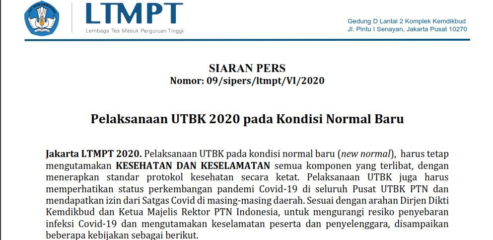 Siaran Pers Pelaksanaan UTBK 2020 pada Kondisi Normal Baru