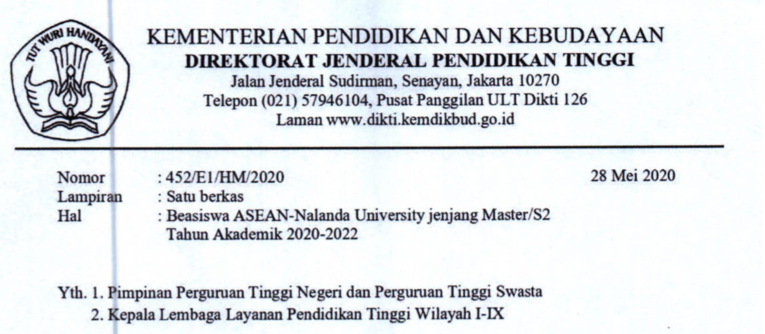 Beasiswa ASEAN – Nalanda University jenjang Master/S2 Tahun Akademik 2020 -2022