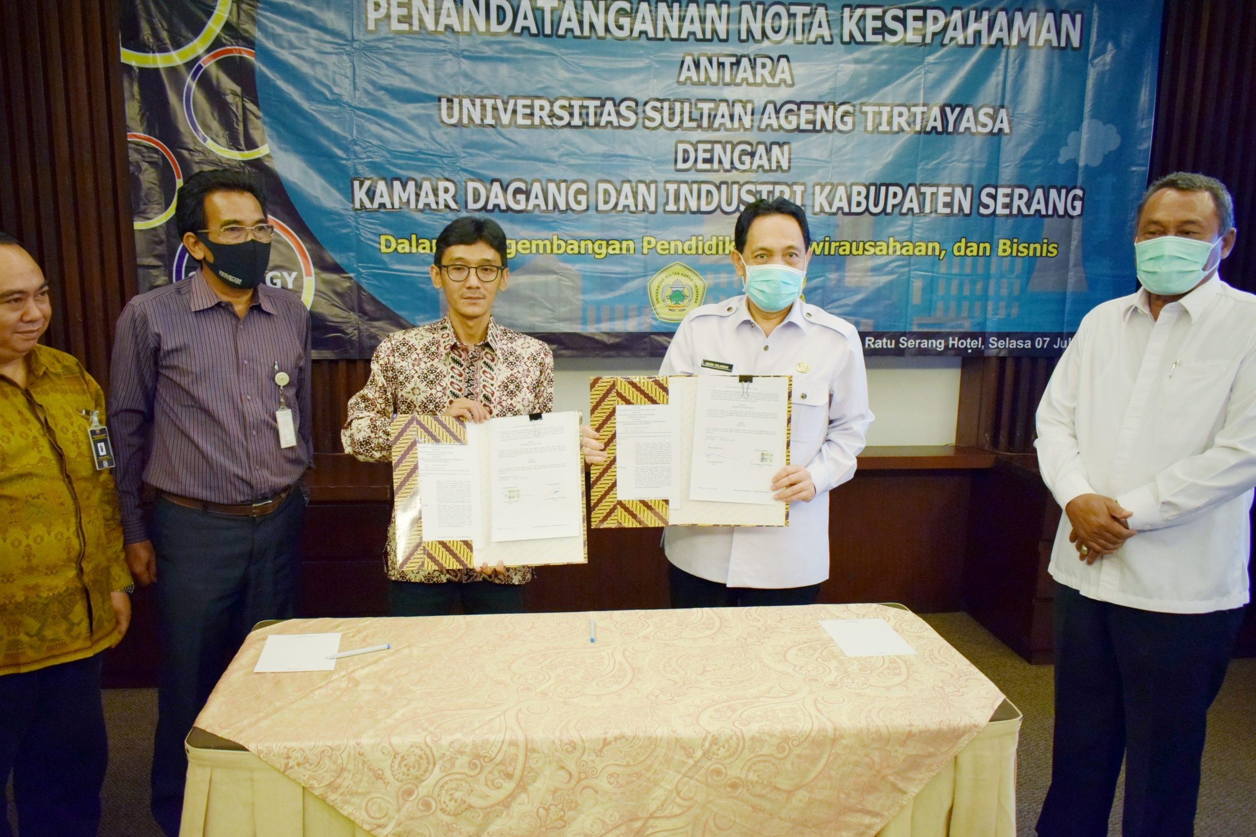 Untirta MoU Dengan Kamar Dagang Dan Industri (KADIN) Kabupaten Serang Untuk Mewujudkan Program Kampus Merdeka