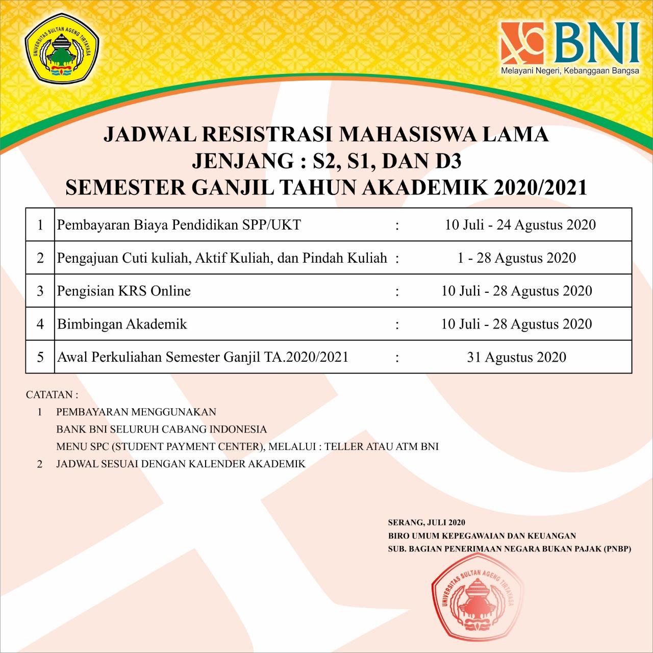 Jadwal Registrasi Mahasiswa Lama Untirta Semester Ganjil T.A 2020/2021