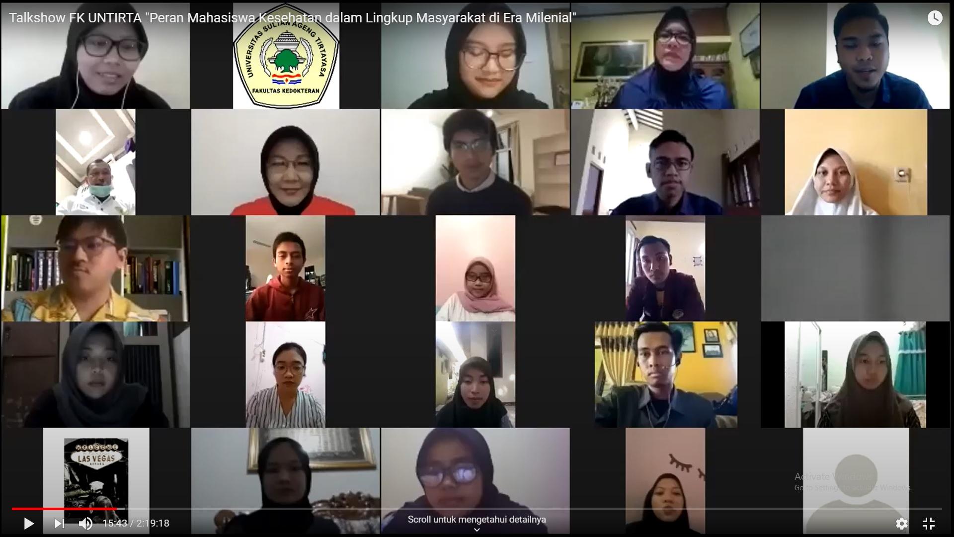 FK Untirta Selenggarakan Talkshow Peran Mahasiswa Kesehatan Dalam Lingkup Masyarakat di Era Milenial.