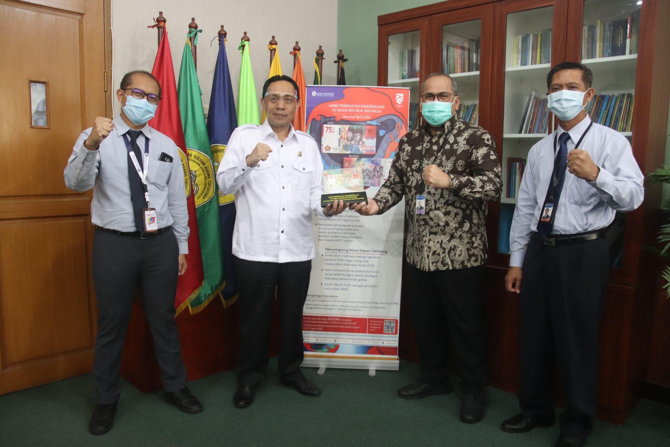 Rektor Untirta Terima Uang Peringatan Kemerdekaan 75 Tahun Republik Indonesia dari Bank Indonesia Provinsi Banten