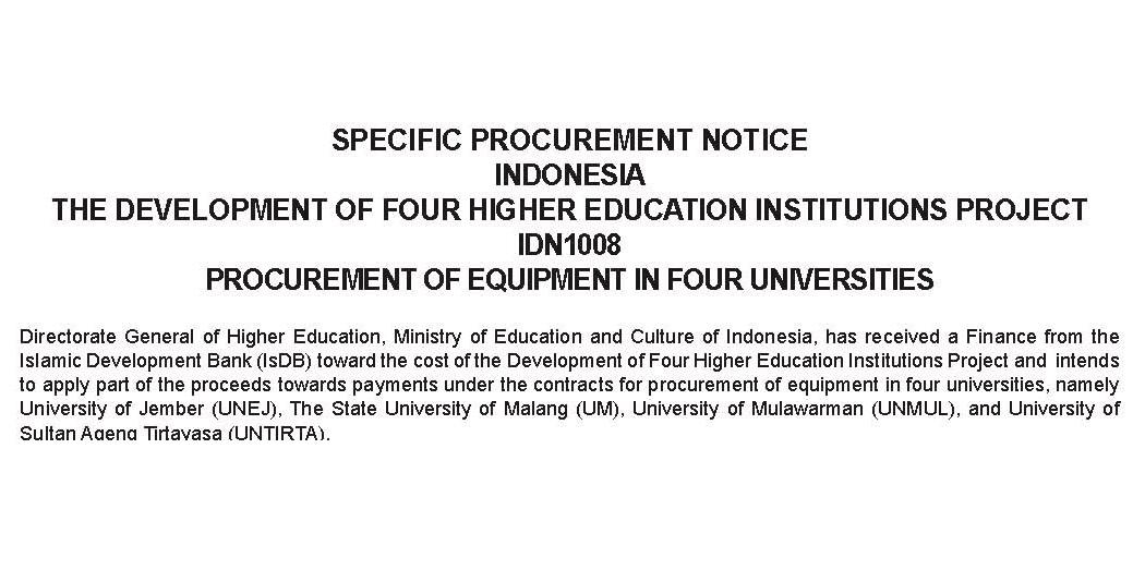 Spesific Procurement Notice (SPN) Tender Equipment Proyek 4 in 1 dengan Dana IsDB