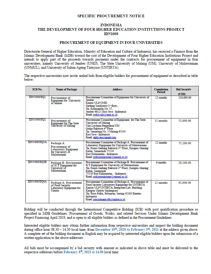 Specific Procurement Notice / Pemberitahuan Pengadaan Khusus Untuk Empat Universitas di Indonesia