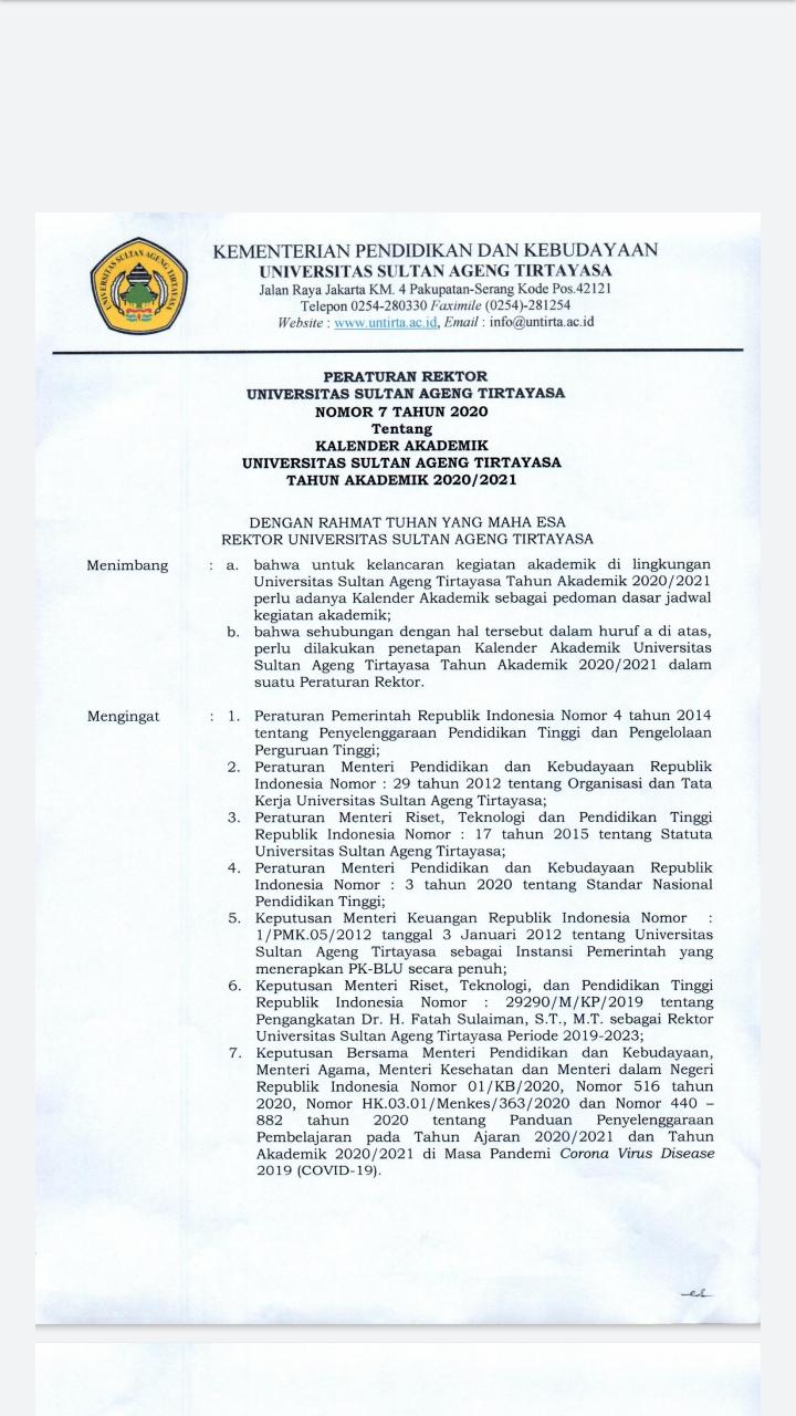 Kalender Akademik Untirta TA. 2020/2021