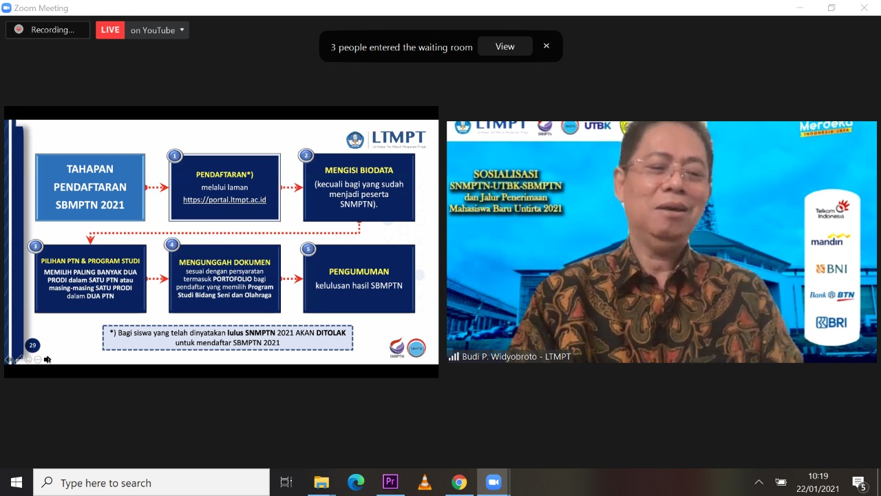 LTMPT Banten / UNTIRTA Sosialisasikan SNMPTN, UTBK SBMPTN Tahun 2021 Secara Daring