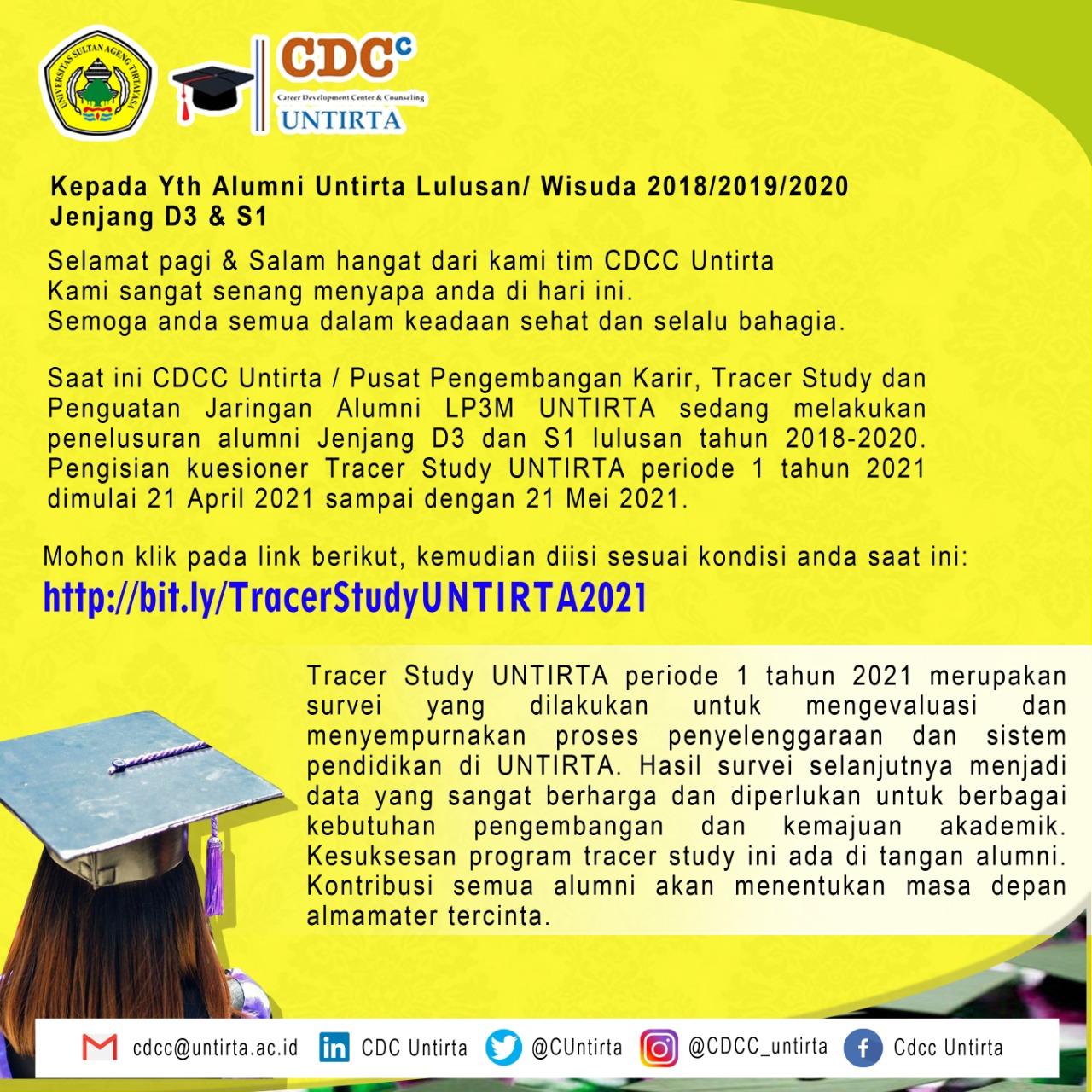 Penelusuran Alumni Jenjang D3 dan S1 Lulusan Tahun 2018 – 2020