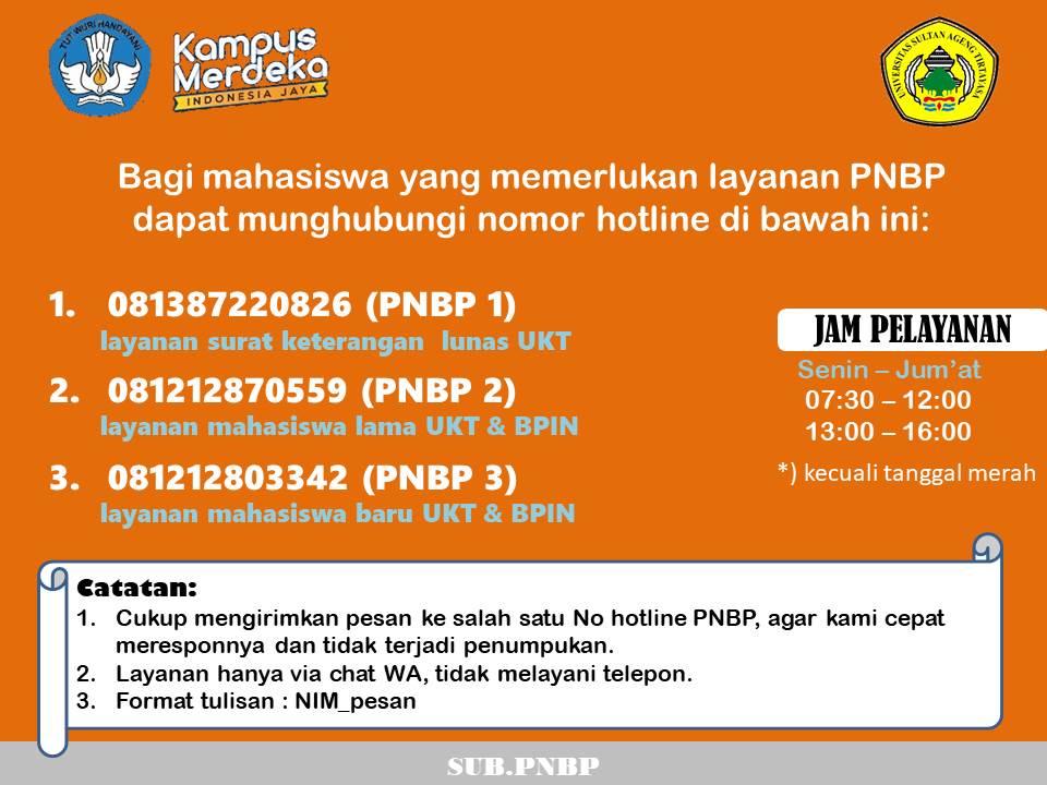 Penambahan Nomor WA Hotline PNBP Untirta