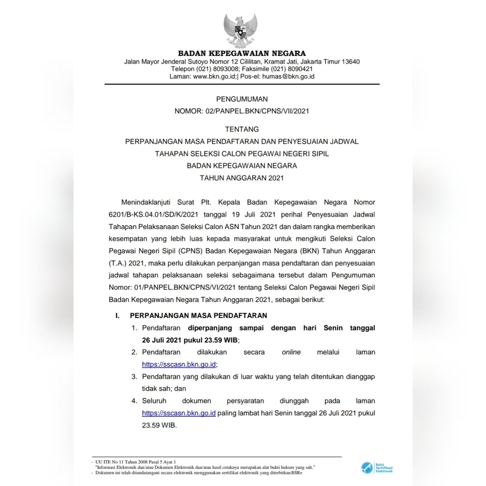Perpanjangan Masa Pendaftaran dan Penyesuaian Jadwal Tahapan Seleksi CPNS BKN TA 2021