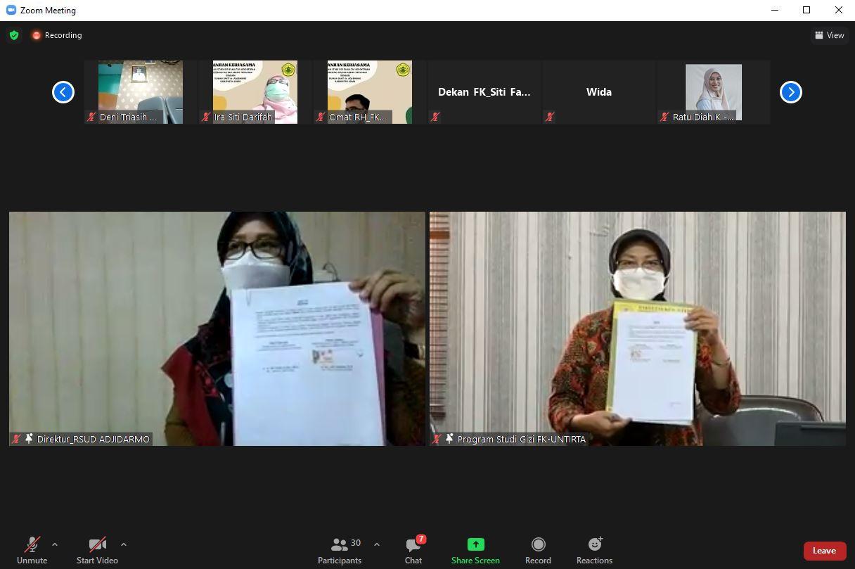 Prodi Gizi Fakultas Kedokteran Untirta Sepakati Kerja Sama dengan RSUD Dr. Adjidarmo Lebak